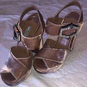 Pink Prada Velvet Platform Sandals
